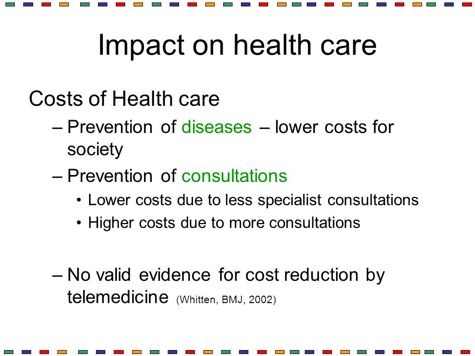 Impact on health care Costs of Health care –Prevention of diseases – lower costs for society –Prevention of consultations Lower costs due to less spec