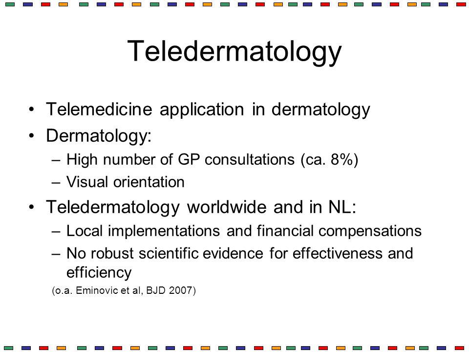 Teledermatology Telemedicine application in dermatology Dermatology: –High number of GP consultations (ca. 8%) –Visual orientation Teledermatology wor
