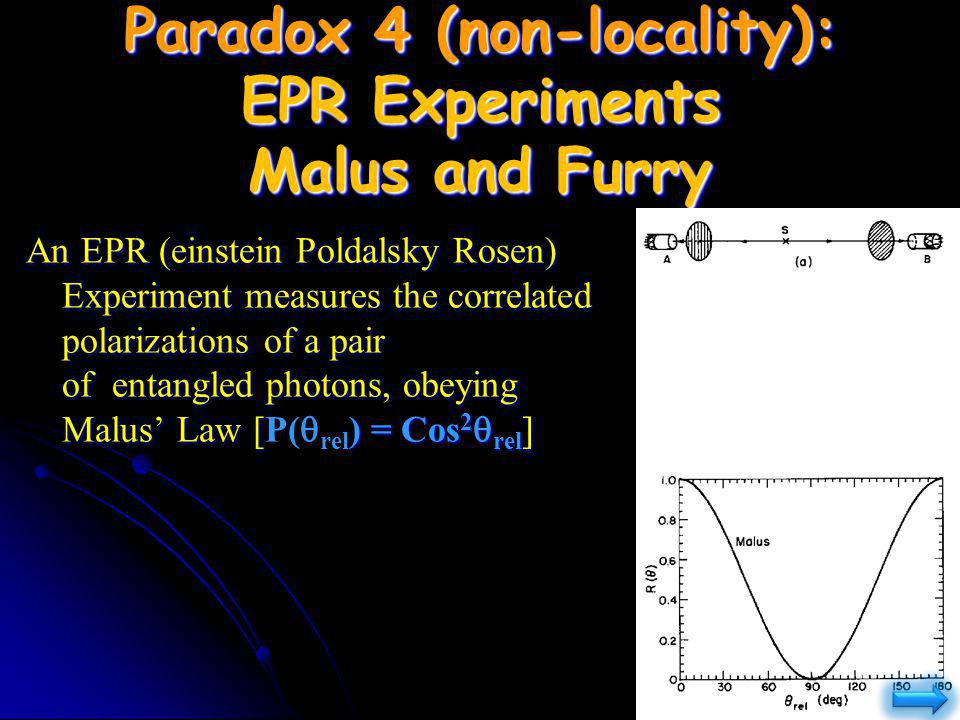 Paradox 4 (non-locality): EPR Experiments Malus and Furry An EPR (einstein Poldalsky Rosen) Experiment measures the correlated polarizations of a pair