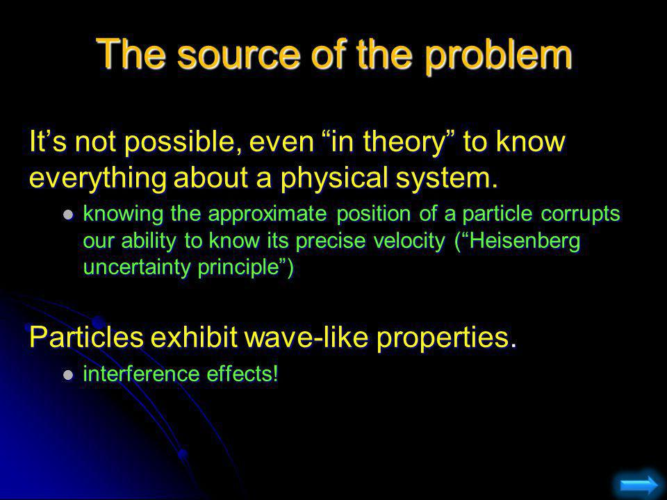 The source of the problem Its not possible, even in theory to know everything about a physical system. knowing the approximate position of a particle
