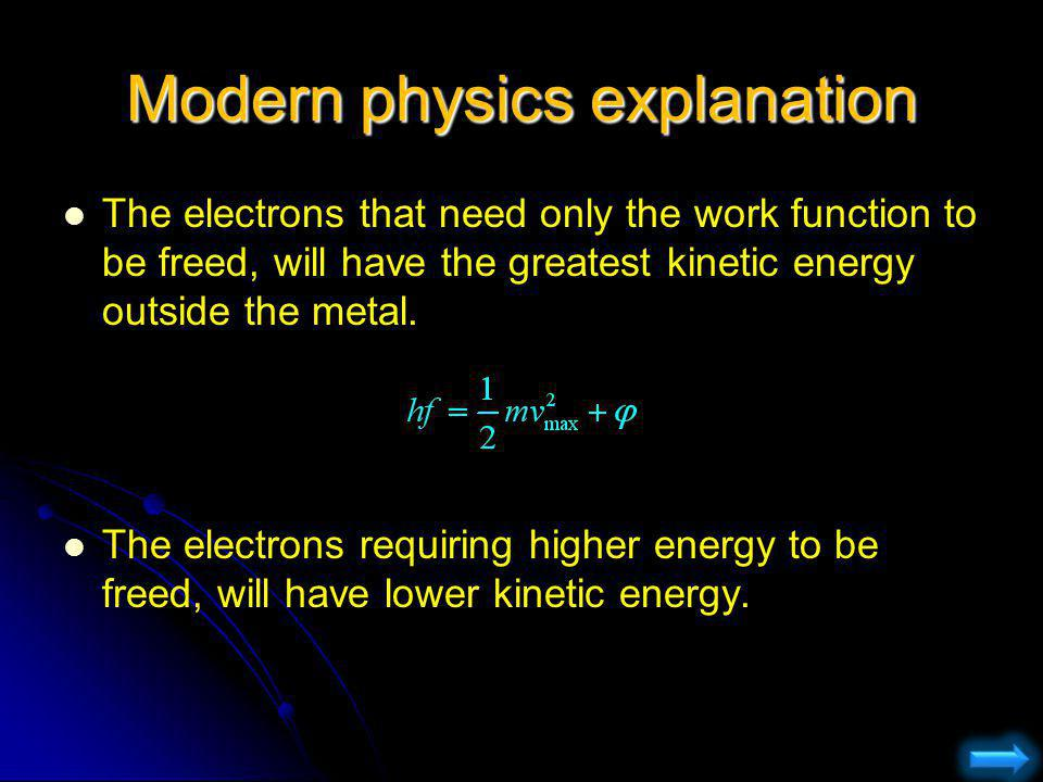Modern physics explanation The electrons that need only the work function to be freed, will have the greatest kinetic energy outside the metal. The el