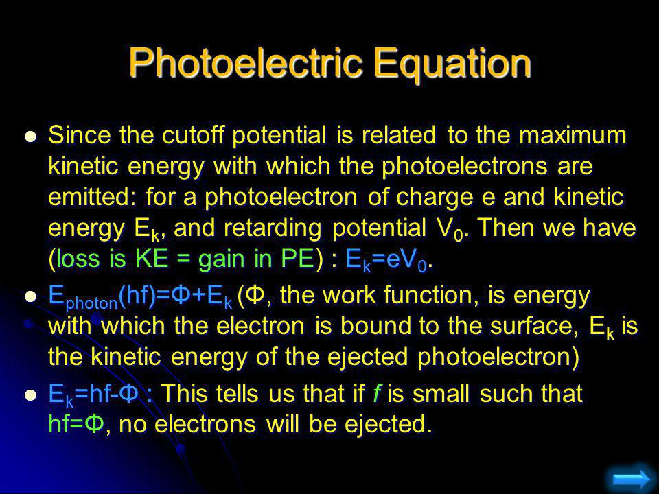 Photoelectric Equation Since the cutoff potential is related to the maximum kinetic energy with which the photoelectrons are emitted: for a photoelect