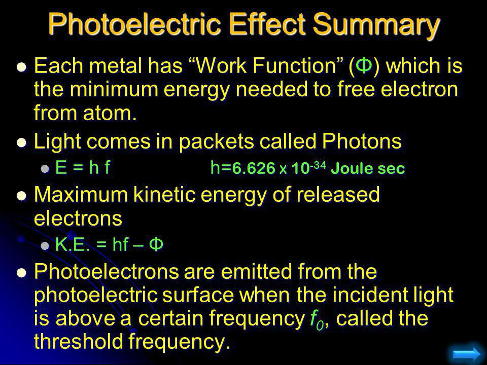 Photoelectric Effect Summary Each metal has Work Function (Φ) which is the minimum energy needed to free electron from atom. Each metal has Work Funct