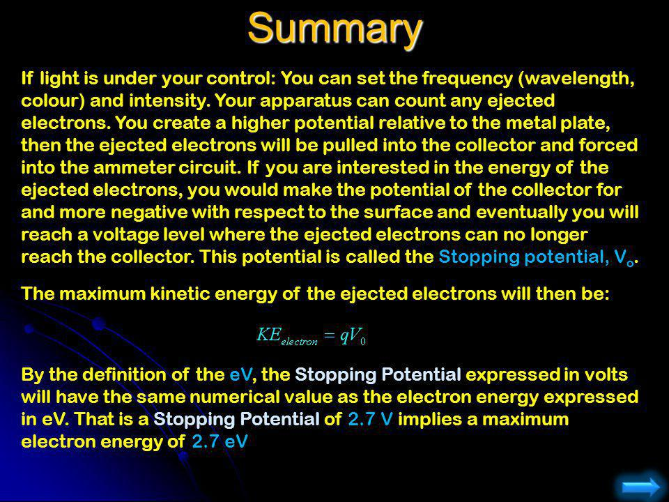 Summary If light is under your control: You can set the frequency (wavelength, colour) and intensity. Your apparatus can count any ejected electrons.