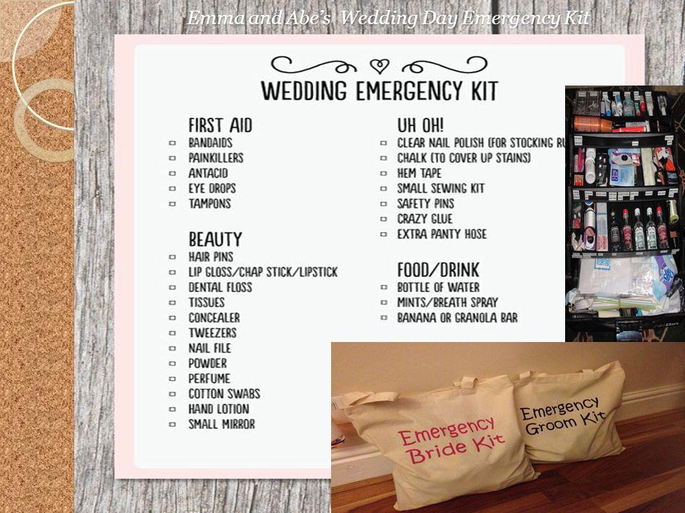 Emma and Abes Wedding Day Emergency Kit