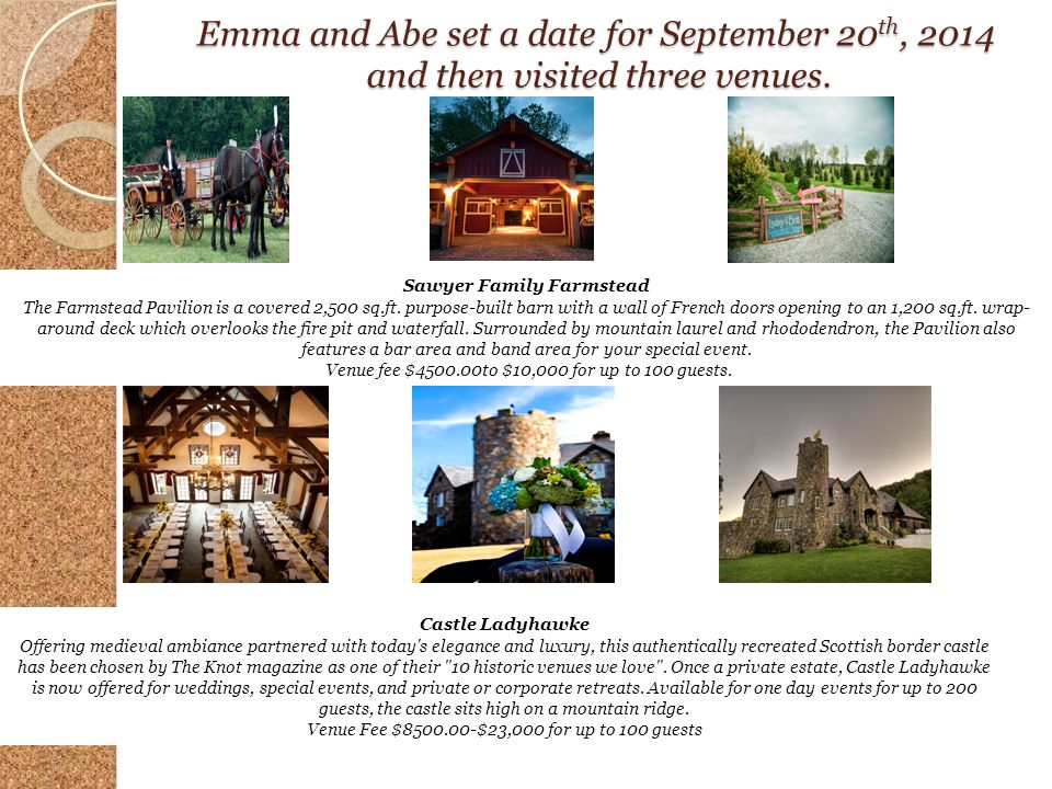 Emma and Abe set a date for September 20 th, 2014 and then visited three venues. Sawyer Family Farmstead The Farmstead Pavilion is a covered 2,500 sq.
