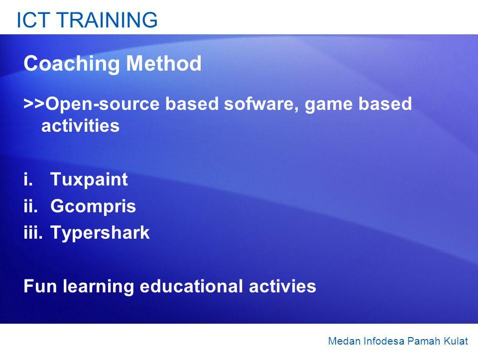 ICT TRAINING Coaching Method >>Open-source based sofware, game based activities i.Tuxpaint ii.Gcompris iii.Typershark Fun learning educational activie