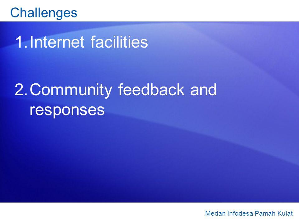 Challenges 1.Internet facilities 2.Community feedback and responses Medan Infodesa Pamah Kulat