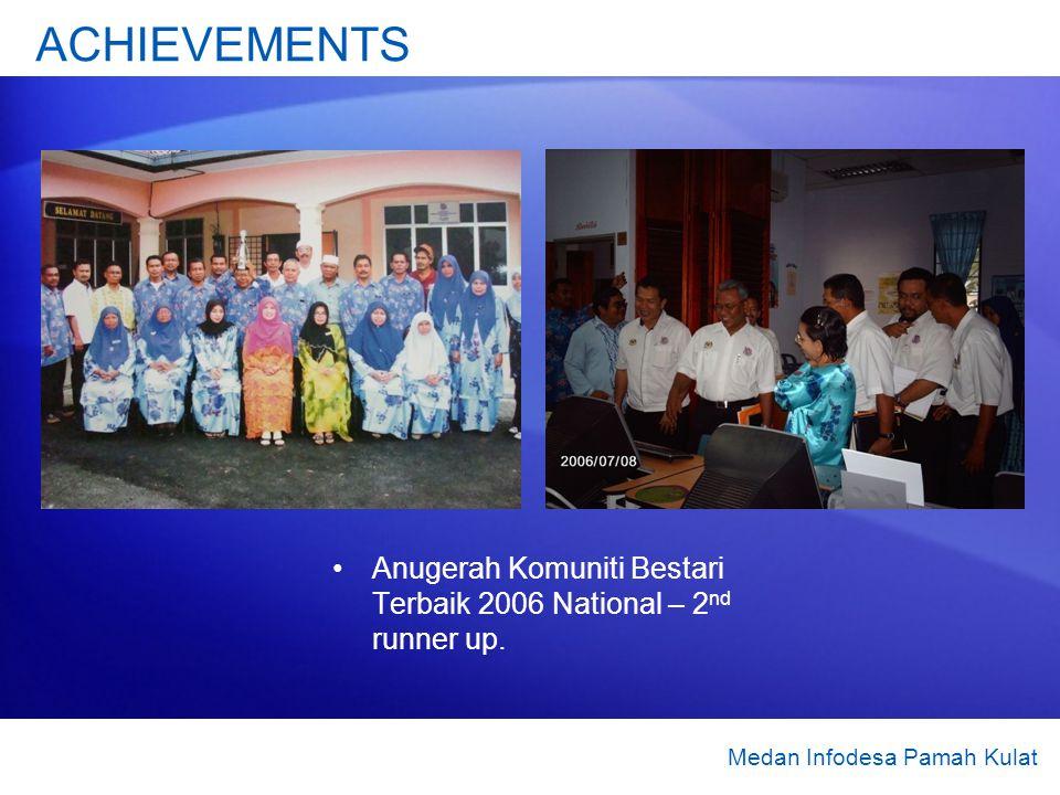 Anugerah Komuniti Bestari Terbaik 2006 National – 2 nd runner up. ACHIEVEMENTS Medan Infodesa Pamah Kulat
