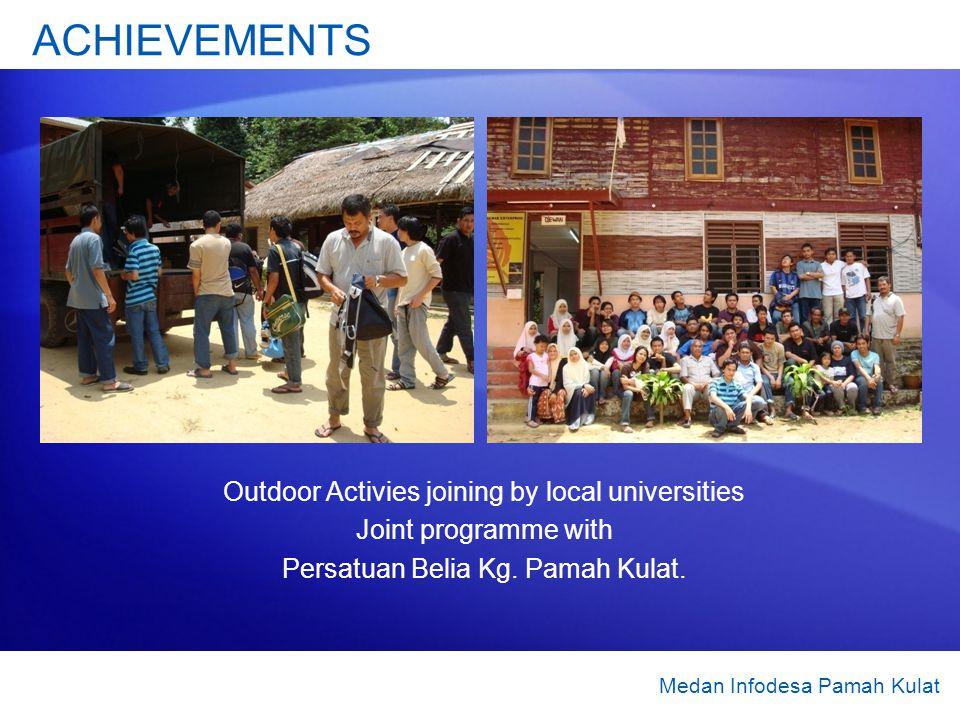 Outdoor Activies joining by local universities Joint programme with Persatuan Belia Kg. Pamah Kulat. Medan Infodesa Pamah Kulat ACHIEVEMENTS