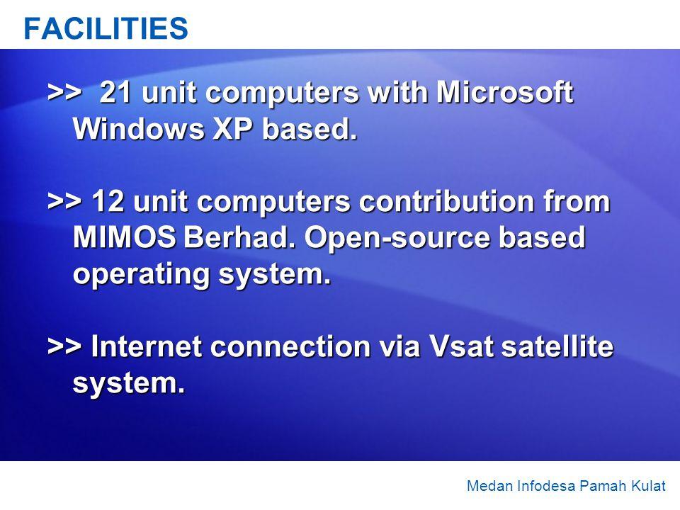Medan Infodesa Pamah Kulat FACILITIES >> 21 unit computers with Microsoft Windows XP based. >> 12 unit computers contribution from MIMOS Berhad. Open-
