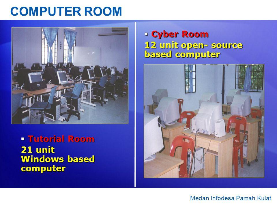 COMPUTER ROOM Tutorial Room Tutorial Room 21 unit Windows based computer Medan Infodesa Pamah Kulat Cyber Room Cyber Room 12 unit open- source based c