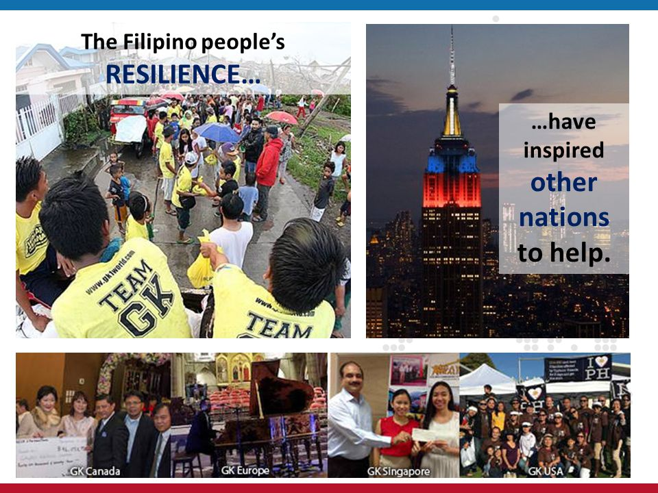 The Filipino peoples RESILIENCE… …have inspired other nations to help.