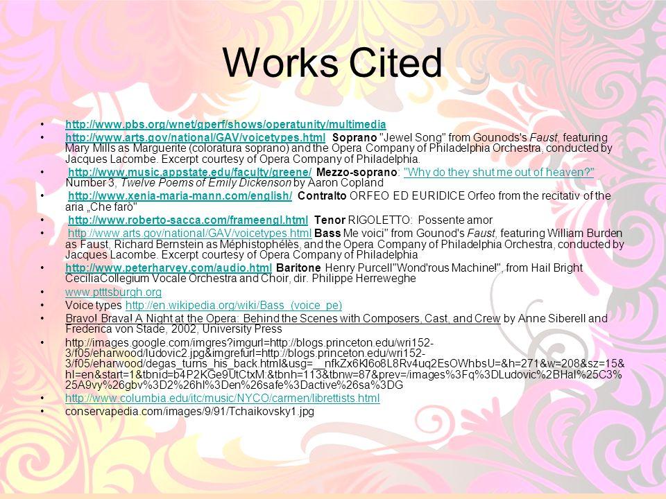 32 Works Cited http://www.pbs.org/wnet/gperf/shows/operatunity/multimedia http://www.arts.gov/national/GAV/voicetypes.html Soprano