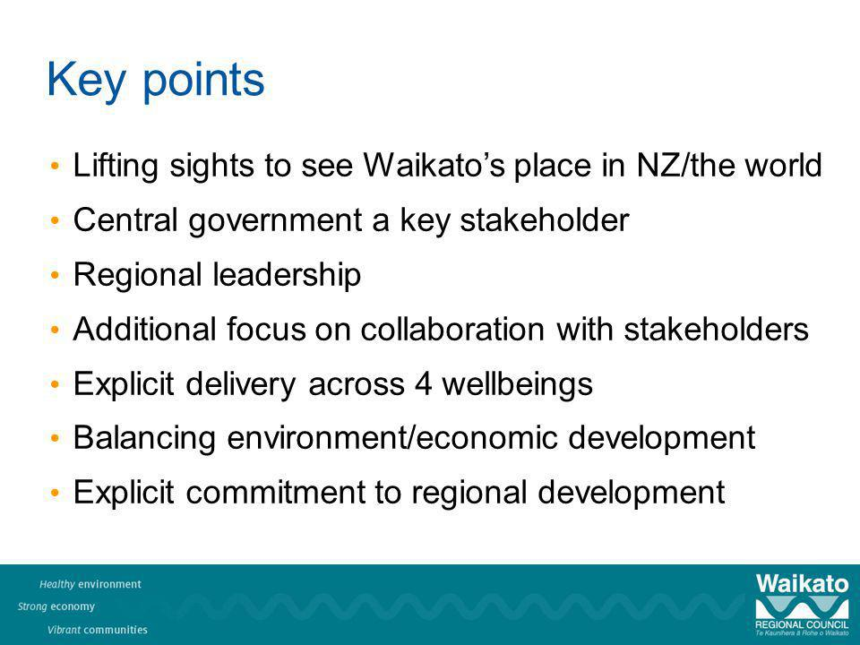 Key points Lifting sights to see Waikatos place in NZ/the world Central government a key stakeholder Regional leadership Additional focus on collaboration with stakeholders Explicit delivery across 4 wellbeings Balancing environment/economic development Explicit commitment to regional development