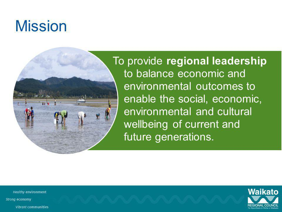 Mission To provide regional leadership to balance economic and environmental outcomes to enable the social, economic, environmental and cultural wellbeing of current and future generations.