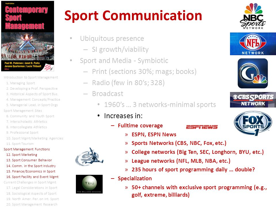 Ubiquitous presence – SI growth/viability Sport and Media - Symbiotic – Print (sections 30%; mags; books) – Radio (few in 80s; 328) – Broadcast 1960s … 3 networks-minimal sports Increases in: – Fulltime coverage » ESPN, ESPN News » Sports Networks (CBS, NBC, Fox, etc.) » College networks (Big Ten, SEC, Longhorn, BYU, etc.) » League networks (NFL, MLB, NBA, etc.) » 235 hours of sport programming daily … double.