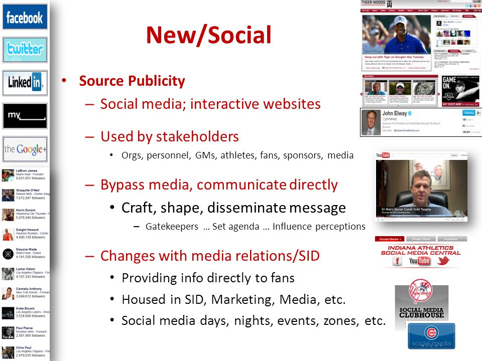 Source Publicity – Social media; interactive websites – Used by stakeholders Orgs, personnel, GMs, athletes, fans, sponsors, media – Bypass media, communicate directly Craft, shape, disseminate message – Gatekeepers … Set agenda … Influence perceptions – Changes with media relations/SID Providing info directly to fans Housed in SID, Marketing, Media, etc.