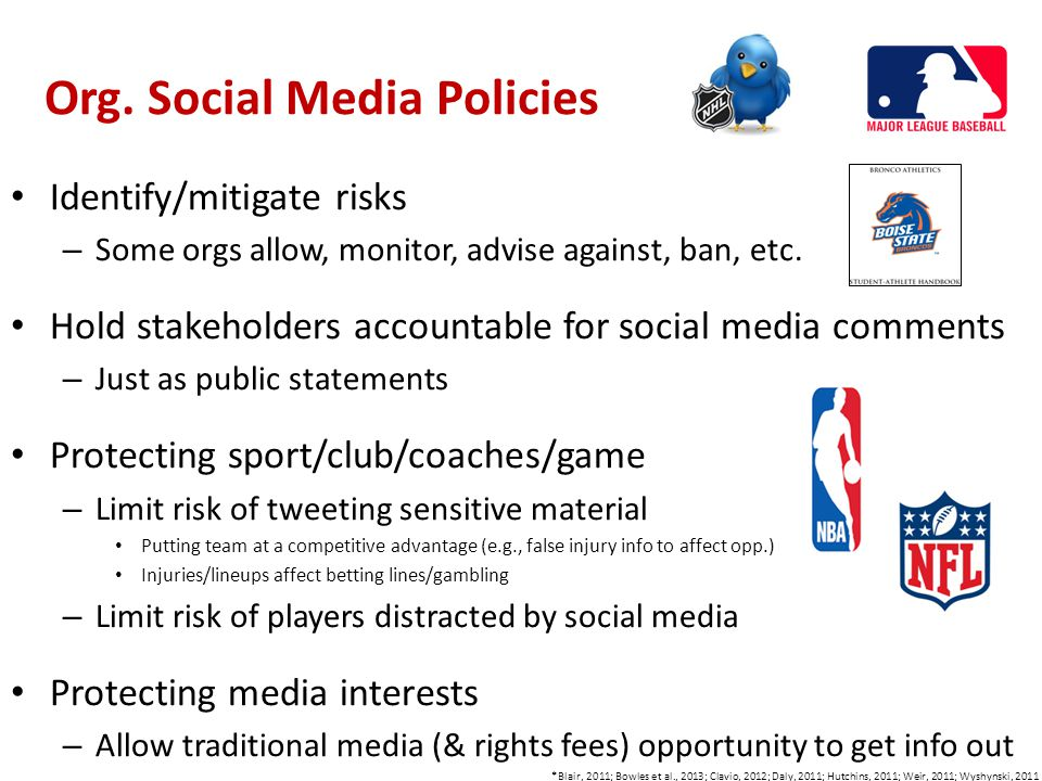 Org. Social Media Policies Identify/mitigate risks – Some orgs allow, monitor, advise against, ban, etc. Hold stakeholders accountable for social medi