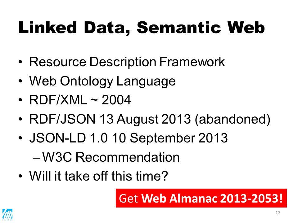 Linked Data, Semantic Web Resource Description Framework Web Ontology Language RDF/XML ~ 2004 RDF/JSON 13 August 2013 (abandoned) JSON-LD 1.0 10 Septe