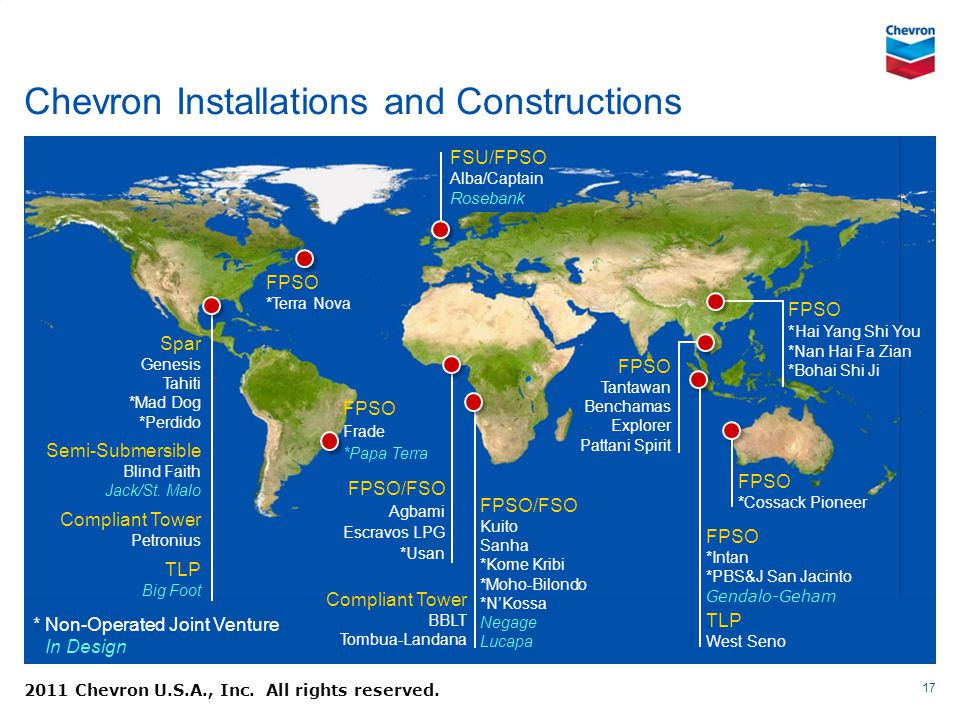 Chevron Installations and Constructions 17 2011 Chevron U.S.A., Inc. All rights reserved. FPSO/FSO Kuito Sanha *Kome Kribi *Moho-Bilondo *NKossa Negag
