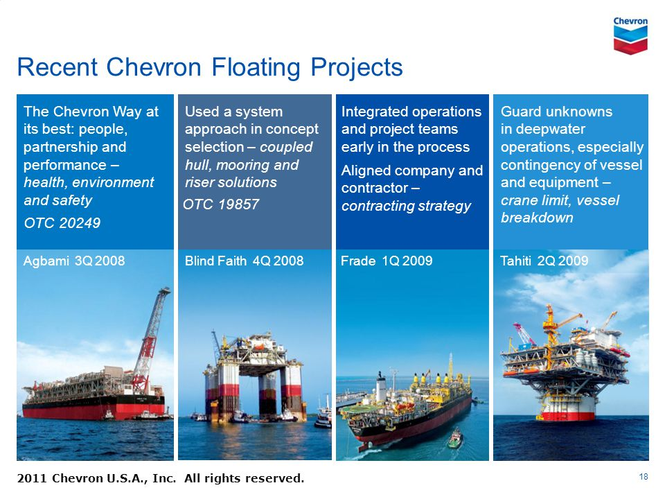 Recent Chevron Floating Projects 18 Used a system approach in concept selection – coupled hull, mooring and riser solutions The Chevron Way at its bes