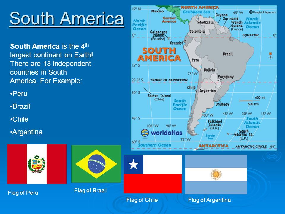 South America South America is the 4 th largest continent on Earth! There are 13 independent countries in South America. For Example: Peru Brazil Chil