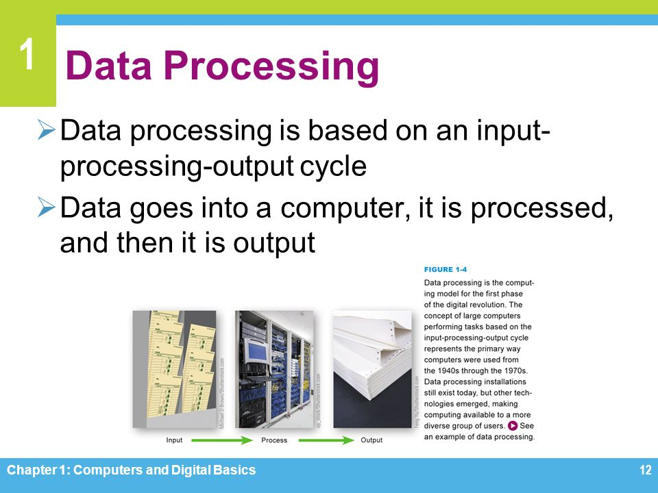 1 Data Processing Data processing is based on an input- processing-output cycle Data goes into a computer, it is processed, and then it is output Chap