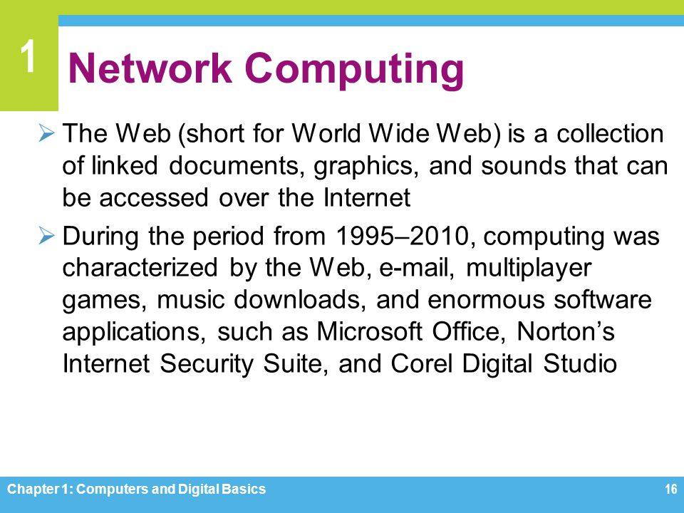 1 Network Computing The Web (short for World Wide Web) is a collection of linked documents, graphics, and sounds that can be accessed over the Interne