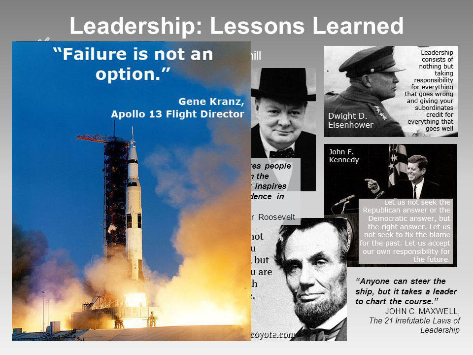 Apollo 13, Paths of Glory and Other Great Leaders of Our Time, Past and Present Leadership: Lessons Learned Team Omega: Annette Baker, Team Leader wit