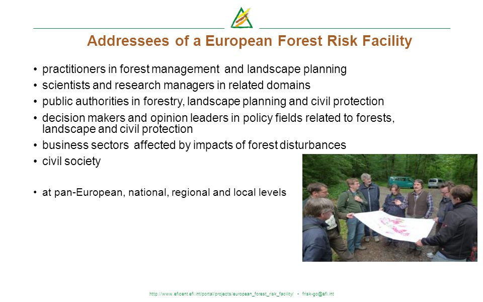 http://www.eficent.efi.int/portal/projects/european_forest_risk_facility/ frisk-go@efi.int Addressees of a European Forest Risk Facility practitioners
