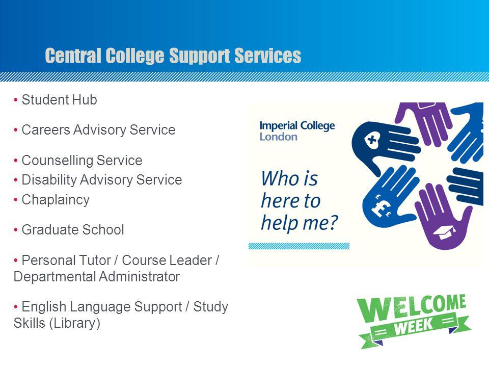 Student Hub Careers Advisory Service Counselling Service Disability Advisory Service Chaplaincy Graduate School Personal Tutor / Course Leader / Depar