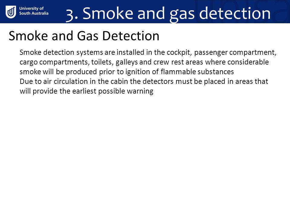 3. Smoke and gas detection Smoke and Gas Detection Smoke detection systems are installed in the cockpit, passenger compartment, cargo compartments, to