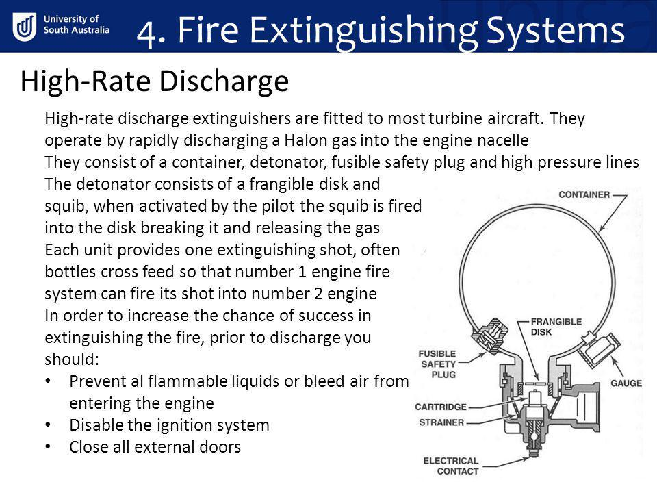 4. Fire Extinguishing Systems High-Rate Discharge High-rate discharge extinguishers are fitted to most turbine aircraft. They operate by rapidly disch