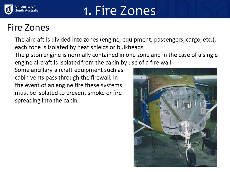 1. Fire Zones Fire Zones The aircraft is divided into zones (engine, equipment, passengers, cargo, etc.), each zone is isolated by heat shields or bul