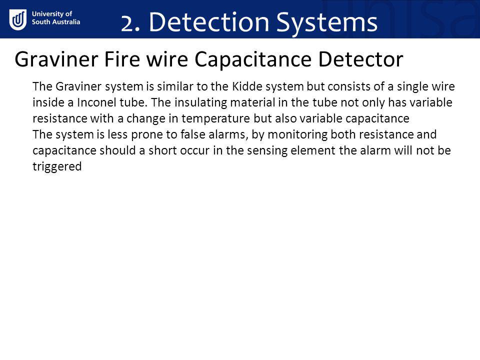 2. Detection Systems Graviner Fire wire Capacitance Detector The Graviner system is similar to the Kidde system but consists of a single wire inside a