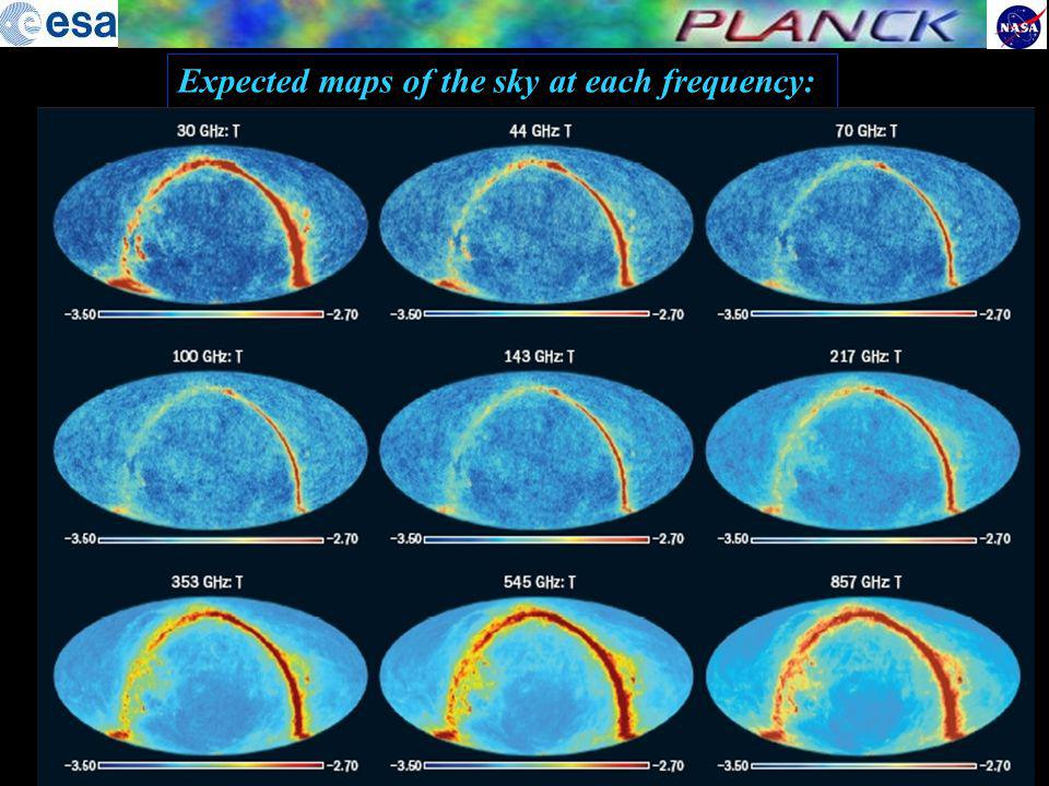 30 44 70143 217353545 857 100 Peak frequency response for each detector, compared with the sky signals LFI HFI