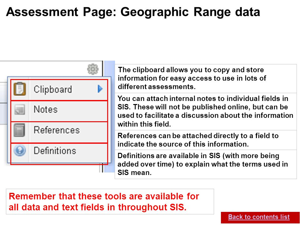 IUCN (International Union for Conservation of Nature) SIS self-teach guide. Version 1.1 (27 th July 2012) Assessment Page: Geographic Range data Back