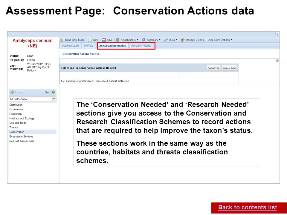 IUCN (International Union for Conservation of Nature) SIS self-teach guide.
