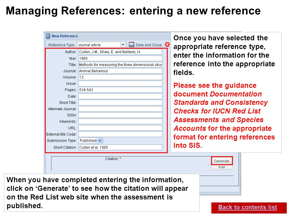IUCN (International Union for Conservation of Nature) SIS self-teach guide. Version 1.1 (27 th July 2012) Managing References: entering a new referenc