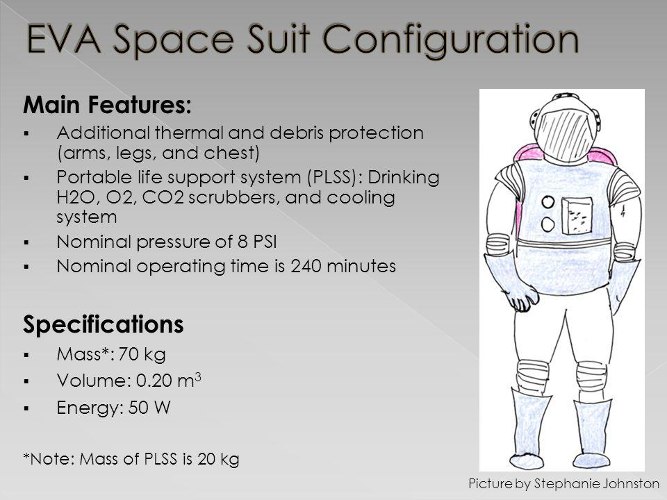 Main Features: Additional thermal and debris protection (arms, legs, and chest) Portable life support system (PLSS): Drinking H2O, O2, CO2 scrubbers, and cooling system Nominal pressure of 8 PSI Nominal operating time is 240 minutes Picture by Stephanie Johnston Specifications Mass*: 70 kg Volume: 0.20 m 3 Energy: 50 W *Note: Mass of PLSS is 20 kg