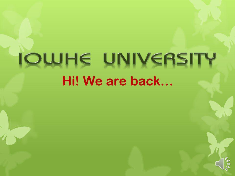 Hi! We are back…