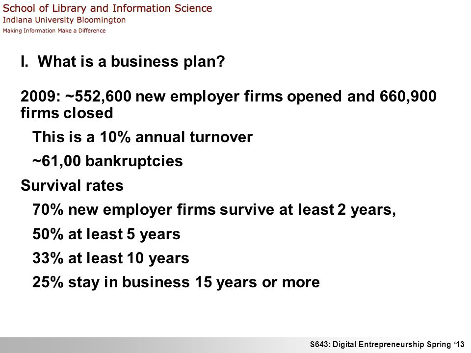 S643: Digital Entrepreneurship Spring 13 I. What is a business plan? 2009: ~552,600 new employer firms opened and 660,900 firms closed This is a 10% a
