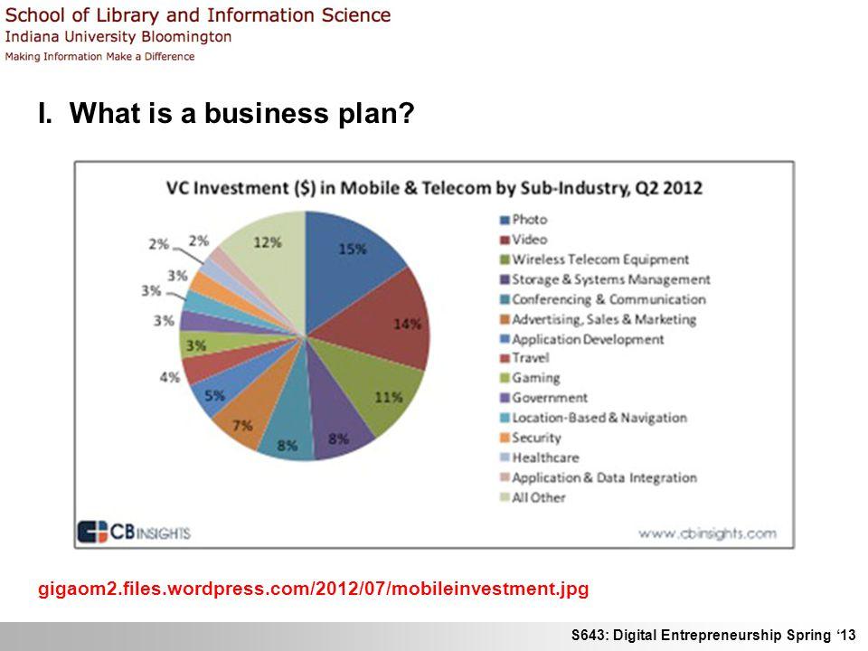 S643: Digital Entrepreneurship Spring 13 I.What is a business plan.