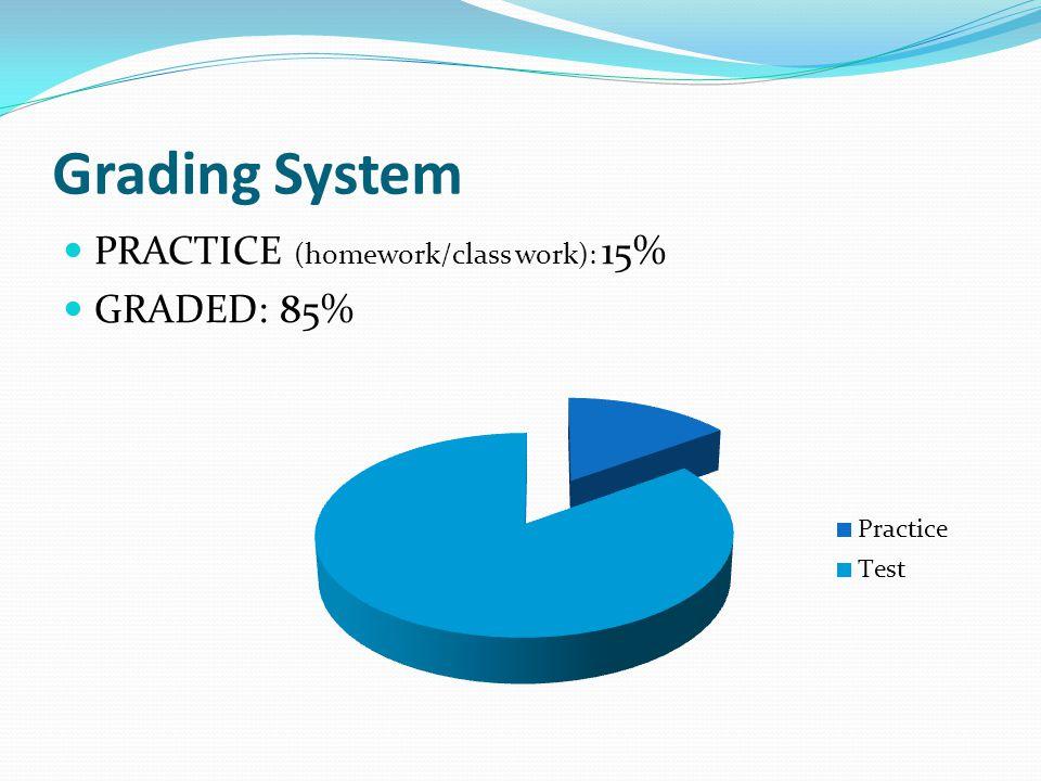 Grading System PRACTICE (homework/class work): 15% GRADED: 85%
