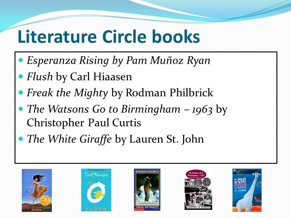 Literature Circle books Esperanza Rising by Pam Muñoz Ryan Flush by Carl Hiaasen Freak the Mighty by Rodman Philbrick The Watsons Go to Birmingham – 1