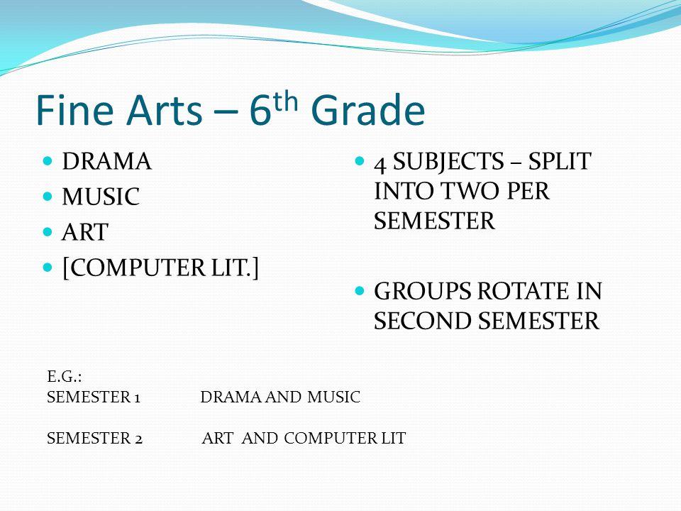 Fine Arts – 6 th Grade DRAMA MUSIC ART [COMPUTER LIT.] 4 SUBJECTS – SPLIT INTO TWO PER SEMESTER GROUPS ROTATE IN SECOND SEMESTER E.G.: SEMESTER 1 DRAM