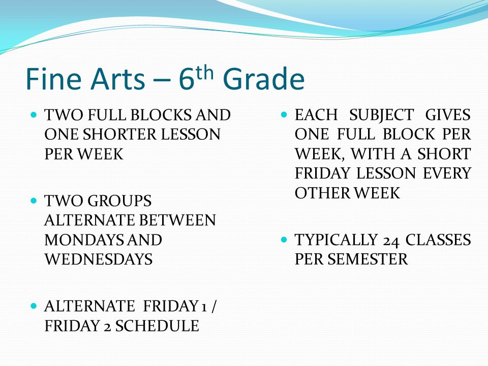Fine Arts – 6 th Grade TWO FULL BLOCKS AND ONE SHORTER LESSON PER WEEK TWO GROUPS ALTERNATE BETWEEN MONDAYS AND WEDNESDAYS ALTERNATE FRIDAY 1 / FRIDAY