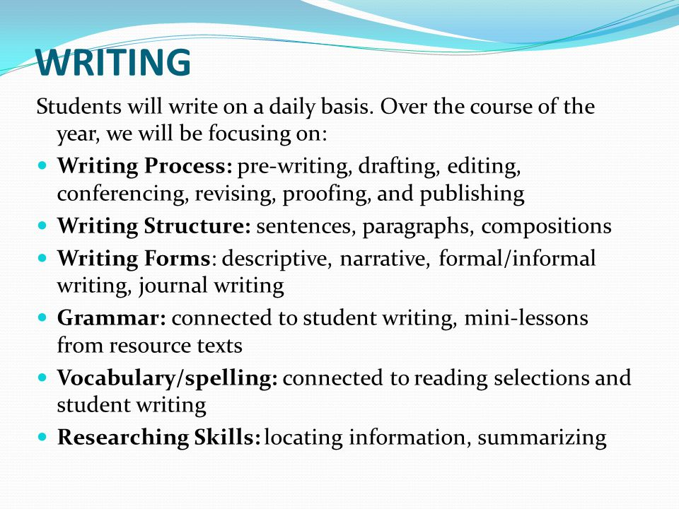 WRITING Students will write on a daily basis. Over the course of the year, we will be focusing on: Writing Process: pre-writing, drafting, editing, co
