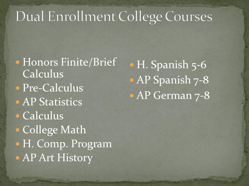 Honors Finite/Brief Calculus Pre-Calculus AP Statistics Calculus College Math H.
